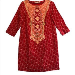 Boden Red & Orange Print Silk Blend Tunic Dress